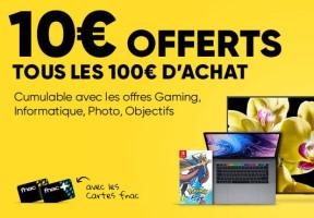 10€ offerts tous les 100€ chez fnac