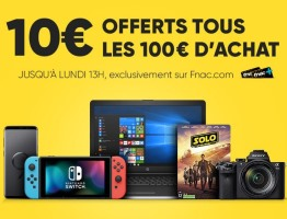 10€ offerts tous les 100€ d'achats pour les adhérents fnac