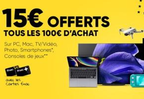 15€ offerts tous les 100€ d'achats de consoles chez fnac