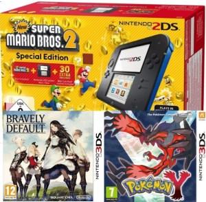 "2DS pack ""New Super Mario Bros. 2"" + Bravely Default + Pokémon Y"