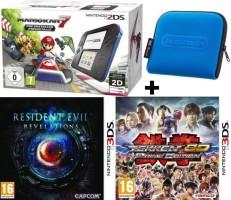 """Nintendo 2DS pack """"Mario Kart 7"""" + Resident Evil + Tekken + Housse"""