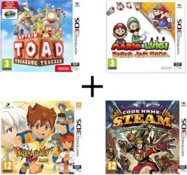 Captain Toad : Treasure Tracker + Mario & Luigi : Paper Jam Bros. + Code Name : STEAM  + Inazuma Eleven Go Lumière (3DS)