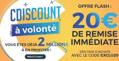 20€ de réduction à partir de 100€ d'achats chez cdiscount