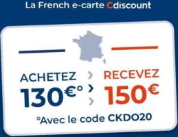 Carte cadeau cdiscount bonifiée (150€ à dépenser pour 130€)