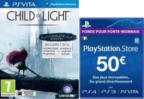 Child of Light (PS Vita) + 1 an de PS+ ou 50€ PSN (PS4, PS3, PS Vita)