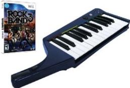 Clavier Pro Rock Band 3 sans fil + jeu Rock Band 3 (wii)