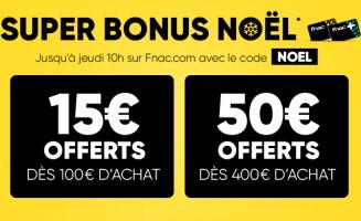 15€ offerts dès 100€ d'achats chez fnac jusqu'au 12 décembre 2019