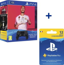 FIFA 20 + DualShock 4 noire + 12 mois de PS+ (PS4)