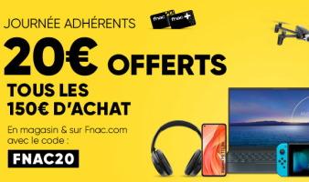 adhérents fnac : 20€ offerts tous les 150€ d'achats