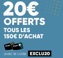 20€ offerts tous les 150€ chez fnac
