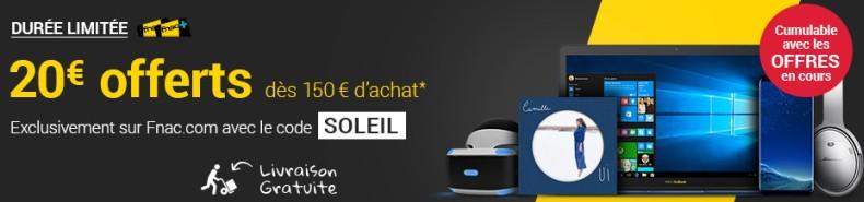 20€ offerts dès 150€ d'achats pour les adhérents Fnac