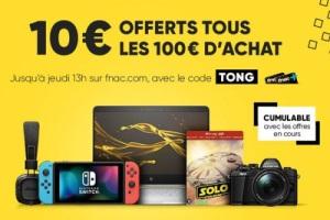 10€ offerts par tranche de 100€ d'achats pour les adhérents fnac