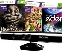 Kinect + Kinect Advenrures + Rise of the Nightmares + Child of Eden (xbox 360)
