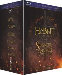 """Trilogies """"Le Hobbit"""" + """"Le seigneur des anneaux"""" en versions longues (blu-ray)"""