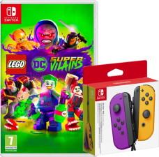 Paire de joy-con violet / orange + Lego DC Super Vilains (Switch)