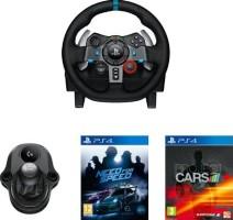 Volant Logitech G29 + pédalier + levier de vitesse + Project Cars + Need for Speed (PS4)