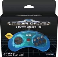 Manette 6 boutons clear blue pour Sega Megadrive