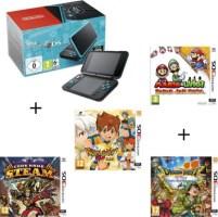 New 2DS XL noire et turquoise + Dragon Quest VII + Mario & Luigi Paper Jam Bros + Code Name STEAM + Inazuma Eleven Go Lumière