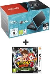Console Nintendo New 2DS XL Noir et Turquoise + Yo-Kai Watch 2 : Esprits farceurs