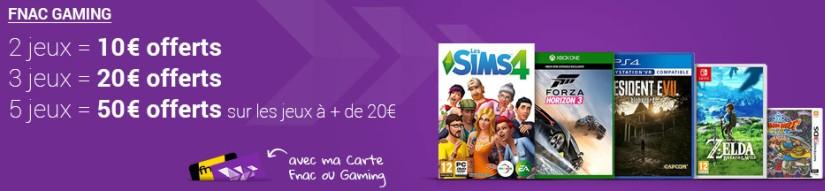 Jusqu'à 50€ offerts en chèques cadeaux pour l'achat de jeux vidéo chez fnac