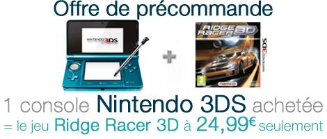 Offre de précommande Nintendo 3DS avec Ridge Racer 3D
