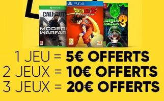 Adhérents fnac : jusqu'à 20€ offerts en chèques cadeaux pour l'achat de jeux vidéo