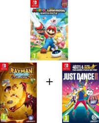 Mario & The Lapins Crétins Kingdom Battle + Rayman Legends Definitive Edition + Just Dance 2018 (Switch)