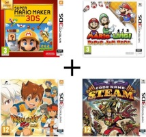 Captain Toad : Treasure Tracker + Mario & Luigi : Paper Jam Bros. + Code Name : STEAM  + Inazuma Eleven Go Lumière (3DS)
