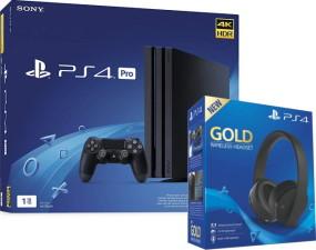PS4 Pro 1 To noire + casque sans fil gold