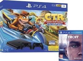 PS4 Slim 1 To + 2 manettes + Crash Team Racing + Detroit: Become Human