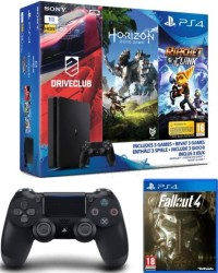 PS4 Slim 1 To + 2 manettes + DriveClub + Horizon Zero Dawn + Ratchet & Clank + Fallout 4