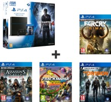 "PS4 1 To Pack ""Uncharted 4"" + Far Cry Primal + The Division + Trackmania Turbo + Assassin's Creed Syndicate"