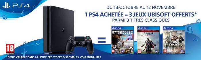 Une PS4 achetée = 3 jeux Ubisoft offerts