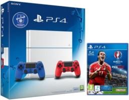 PS4 500 Go blanche + DualShocks bleu et rouge + UEFA Euro 2016