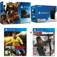 PS4 500 Go + PS TV + inFamous Second + PES 2016 + Tomb Raider Definitive Edition