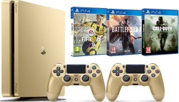 PS4 Slim Gold 500 Go + 2 manettes + FIFA 17 + Battlefield 1 + Call of Duty: Modern Warfare Remastered