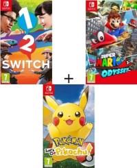 Super Mario Odyssey + Pokémon: Let's Go Pikachu + 1-2-Switch (Switch)