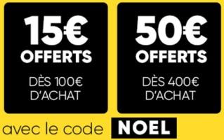 15€ offerts pour 100€ d'achats ou 50€ offerts pour 400€ d'achats chez fnac