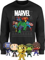 Sweat-shirt de noël Marvel + 5 Funko Pop