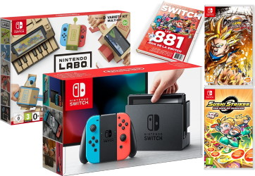 Nintendo Switch avec joy-con néon + Dragon Ball FighterZ + Sushi Striker + Multi-Kit Labo + guide des jeux