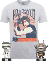 T-shirt Han Solo + 2 Funko Pop