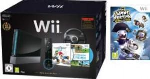 Pack Wii noire Mario Kart + Lapins Crétins Retour vers le passé