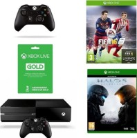 "Xbox One 1 To pack ""FIFA 16"" + 2e manette + Halo 5 Guardians + 3 mois de Xbox Live"