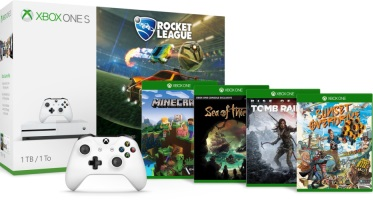 Xbox One S 1 To + 2 manettes + Rocket League + Sea of Thieves + Sunset Overdrive + Rise of the Tomb Raider + Minecraft Explorers