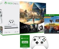 "Xbox One S 1 To + 2 manettes + Assassin""s Creed Origins + Rainbow Six Siege + PUBG + 3 mois de Xbox Live"