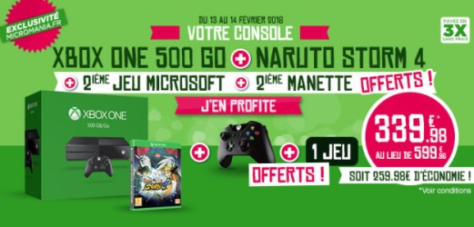 Xbox One + 2e manette + Naruto Storm 4 + Rise of the Tomb Raider